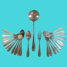 Antique French Silverplate Cutlery Set for 12 with Serving Spoon (no knives)