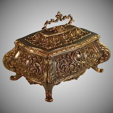 Antique Gilded Bronze Jewelry Box with Swing Handle
