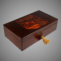 Inlaid Wood Wooden Dresser Box with Union Jacks