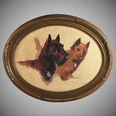Original Oil Painting on Board of Two Dogs Scottie Cairn Terriers