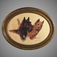 Original Oil Painting of Two Dogs Scottie Cairn Terriers