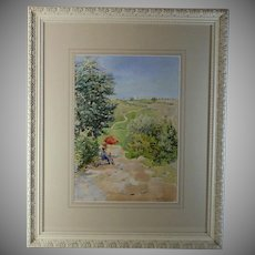 Watercolor landscape with figure by French listed artist Paul Pujol
