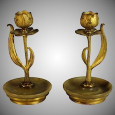 Set of Gilded Bronze Art Nouveau Candle Holders