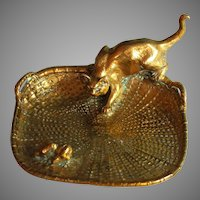 Gilt Bronze Cat and Mouse Bronze Vide Poche Card Tray by L. Carvin