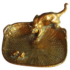 Susse Freres Bronze Vide Poche Card Tray by L. Carvin Cat and Birds