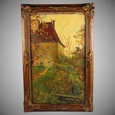 Oil on Board Painting French artist Anna Devaux-Raillon (1891-1968)