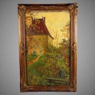 """Painting"""" La Maison de Ponsard"""" by French artist Anna Devaux-Raillon (1891-1968)"""