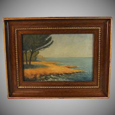 Oil on Canvas Seascape by French artist G. Mongin dated 1928