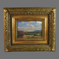 Painting of a French landscape signed J. Franz