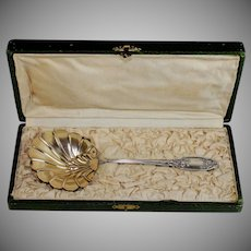 Antique French Vermeil Serving Spoon with Box