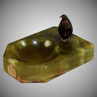 Vintage Onyx and Bronze Penguin Vide Poche, Coin Tray