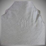 Pair French Monogrammed Linen European Pillow Shams