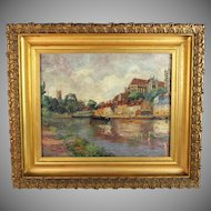 Oil on Canvas French  Impressionist  Landscape signed