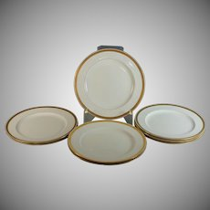 "Eight Antique Minton Raised Gold gilding 10.5"" Dinner Plates H1916"