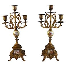 Pair of Antique Gilded Metal and Porcelain Three Light Candelabra