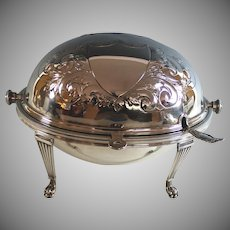 Antique English Silver Plate Revolving Breakfast Dish by Mappin and Webb