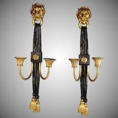 Vintage Pair of Painted Black Wall Sconces with Gilded Lion Heads