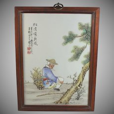 Antique Chinese Republic Porcelain Plaque Tile Signed