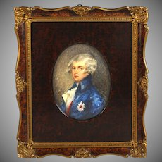 19th C Miniature Portrait of a German Noble in Beautiful Frame