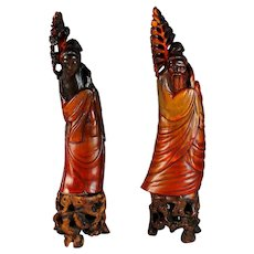 Set of  Carved Chinese Ox Horn Deity's on Hard Wood Carved Stands