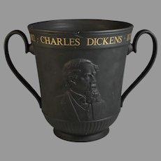 Black Royal Doulton Basalt Loving Cup Depicting Charles Dickens Wine cooler