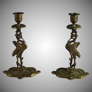 English Pair of Figural Bronze Candle Sticks Candle Holder, Crane Bird