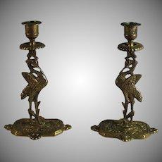 English Pair of Figural Bronze Candle Sticks Candle Holder, Crane Bird