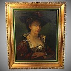 Oil on Canvas European School Portrait of a Lady