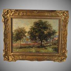 Oil on canvas landscape Barbizon School signed Macle