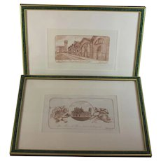 Pair of Dry point etchings by Viviano Viviani of Pisa, Pencil Signed and numbered