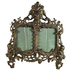 Antique Bronze Double Photo Picture Frame with Putti