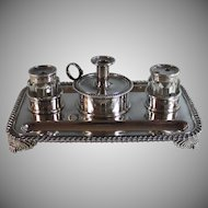 Antique Silver Plate Partners Pen & Ink Stand, Candle Holder Inkwell Silverplate