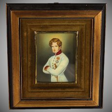 Miniature Portrait Painting of the Son of Napoleon Bonaparte in Period Frame 19th Century