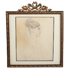 Antique Hand Painted Portrait in Bronze Bow Top Frame