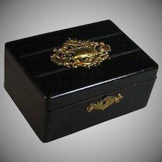 Antique French Napoleon III Black Dresser Box with Bronze Ornaments