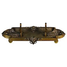 Antique Napoleon III French Silvered Bronze Pen Tray Grotesques