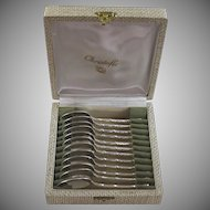 Antique French Silverplate Tea Spoons in Box Set of 12 Silver Plate