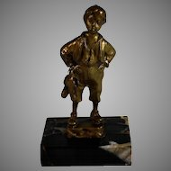 German Bronze Sculpture Boy w Boots Marble Base c1890 Schmidt-Felling