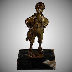 German Bronze Sculpture Boy w Boots Marble Base c1890 Schmidt-Felling