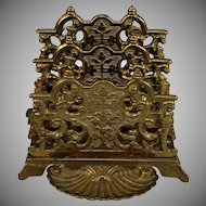 Vintage French Bronze Letter Holder with Small Tray