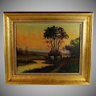 Oil on Canvas Tonalist Landscape by French Artist H. Deroux