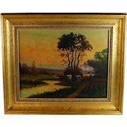 Oil on Canvas Tonalist Landscape by French Artist H. Deroux