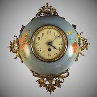 Antique French Enamel ware Wall Clock Handpainted and Serviced Enamelware