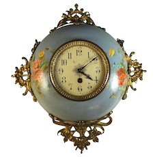 Antique French Enamel ware Wall Clock Handpainted and Serviced Enamelware - Red Tag Sale Item