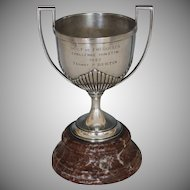 Vintage French 1927 Silver Plate Golf Trophy with Rosso Antico Marble Base