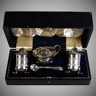 Vintage Walker & Hall Silverplate Salt Pepper Mustard Set in Box
