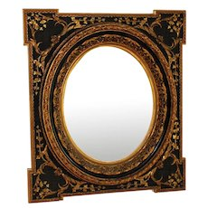 Antique Napoleon III Black and Gold Mirror