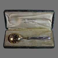 Antique French Sterling and Vermeil Berry Spoon with Box
