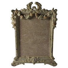 Antique Cast Iron Floral Picture/Photo Frame with Easel