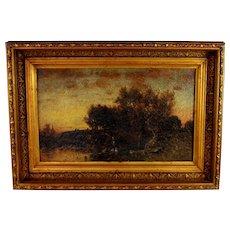 "Oil on Panel Landscape titled ""Twilight"" by American Artist George Herbert McCord (1848-1909)"